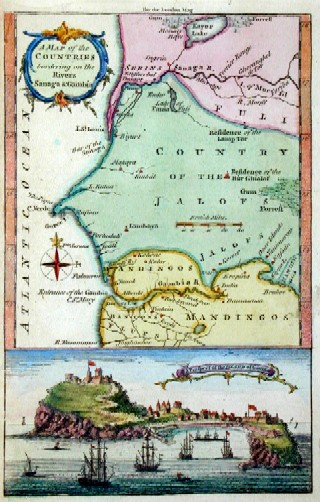 Bellin Jacques Nicolas A map of the countries bordering on the Rivers Sanaga  Gambia
