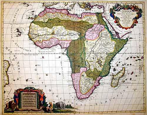Jaillot/ Sanson Hubert/ Nicolas L'Afrique divisee suivant l'estendue de ses principales parties…