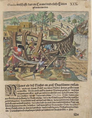 Bry, de Theodor, Dietrich Olandus verschafft das ein Caravel und etlliche Hütten gebauwet worden