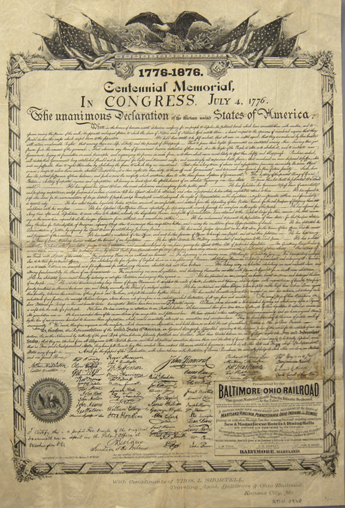 Columbian-Publishing Company  1776-1876. Centennial Memorial, in Congress. July 4,1776. The unanimous Declaration of the thirteen united States of America.