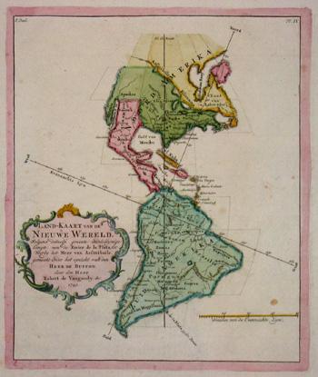 Vaugondy,de Robert Land-Kaart van de Nieuwe Werelt….
