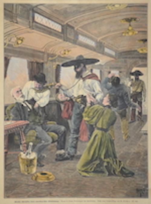 Kircher A. Räuber überfallen einen amerikanischen Eisenbahnzug.