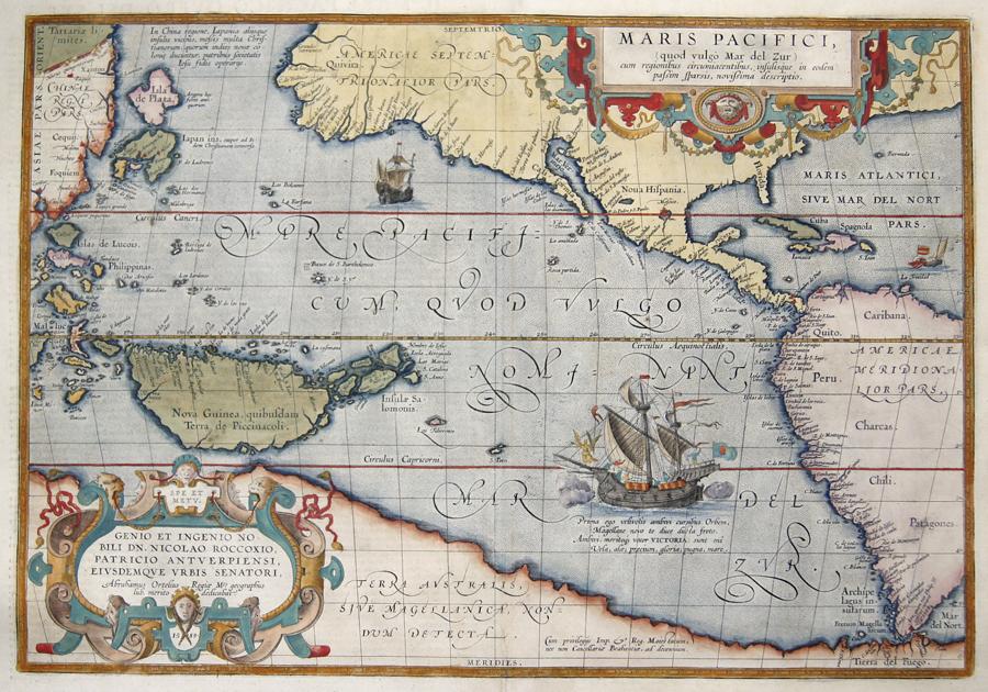 Ortelius Abraham Maris Pacifici, (quod vulgo Mar del Zur) cum regionibus circumiacentibus,…