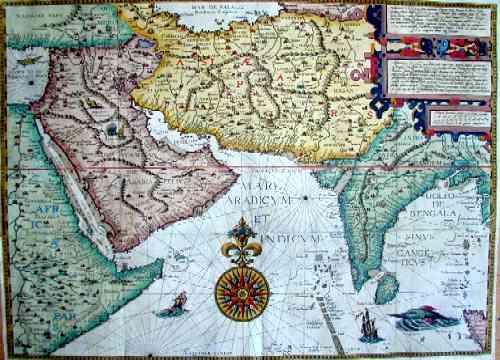 Linschoten, van Jan Huygen Delineatur in hac tabula Orae martimae Abexiae freti Mecani al Maris Rubri Arabiae Ormi Persiae supra Sindam….