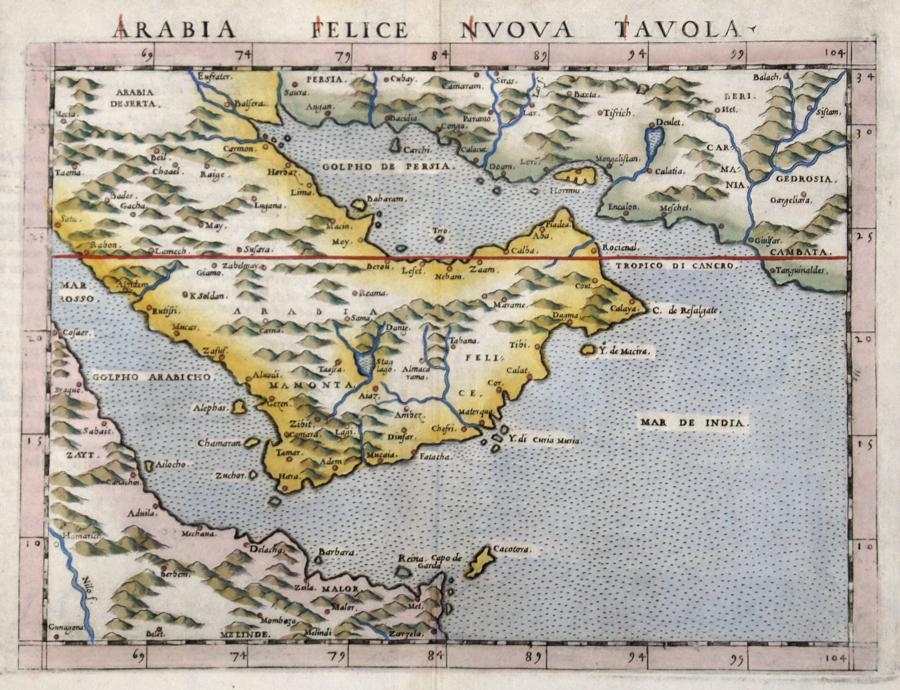 Ruscelli Girolamo Arabia Felice Nuova Tavola.