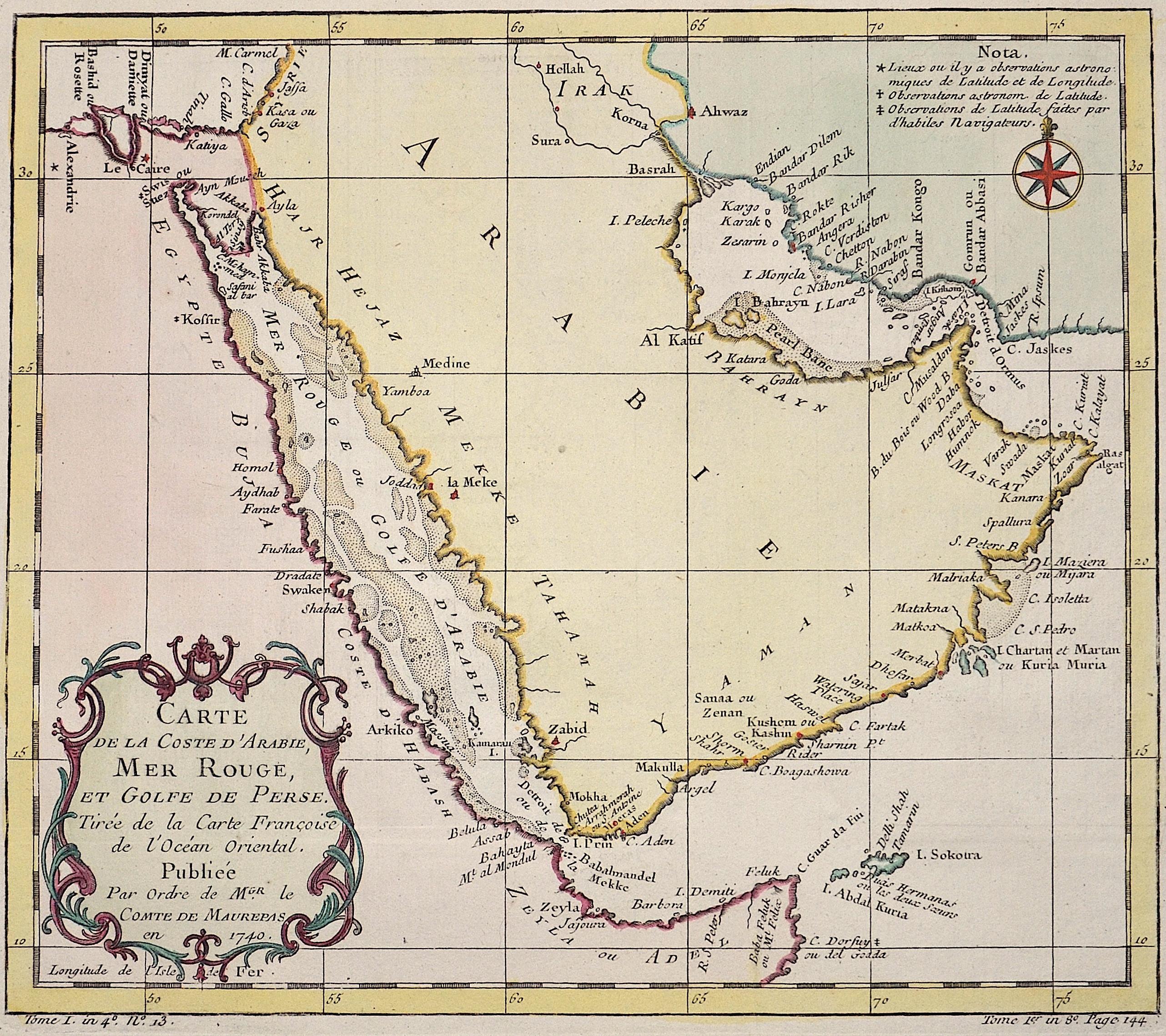 Bellin Jacques Nicolas Carte de la Coste d'Arabie, Mer Rouge, et Golfe de Perse.