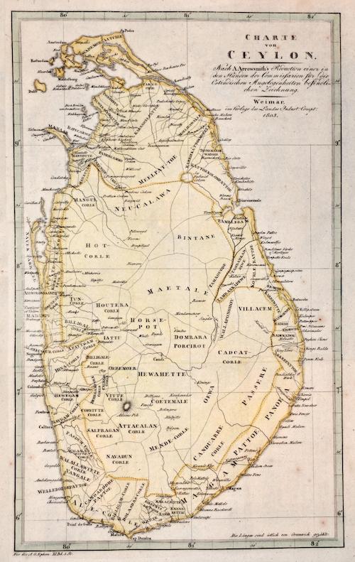 Arrowsmith John Charte von Ceylon. Nach A. Arrowsmith's