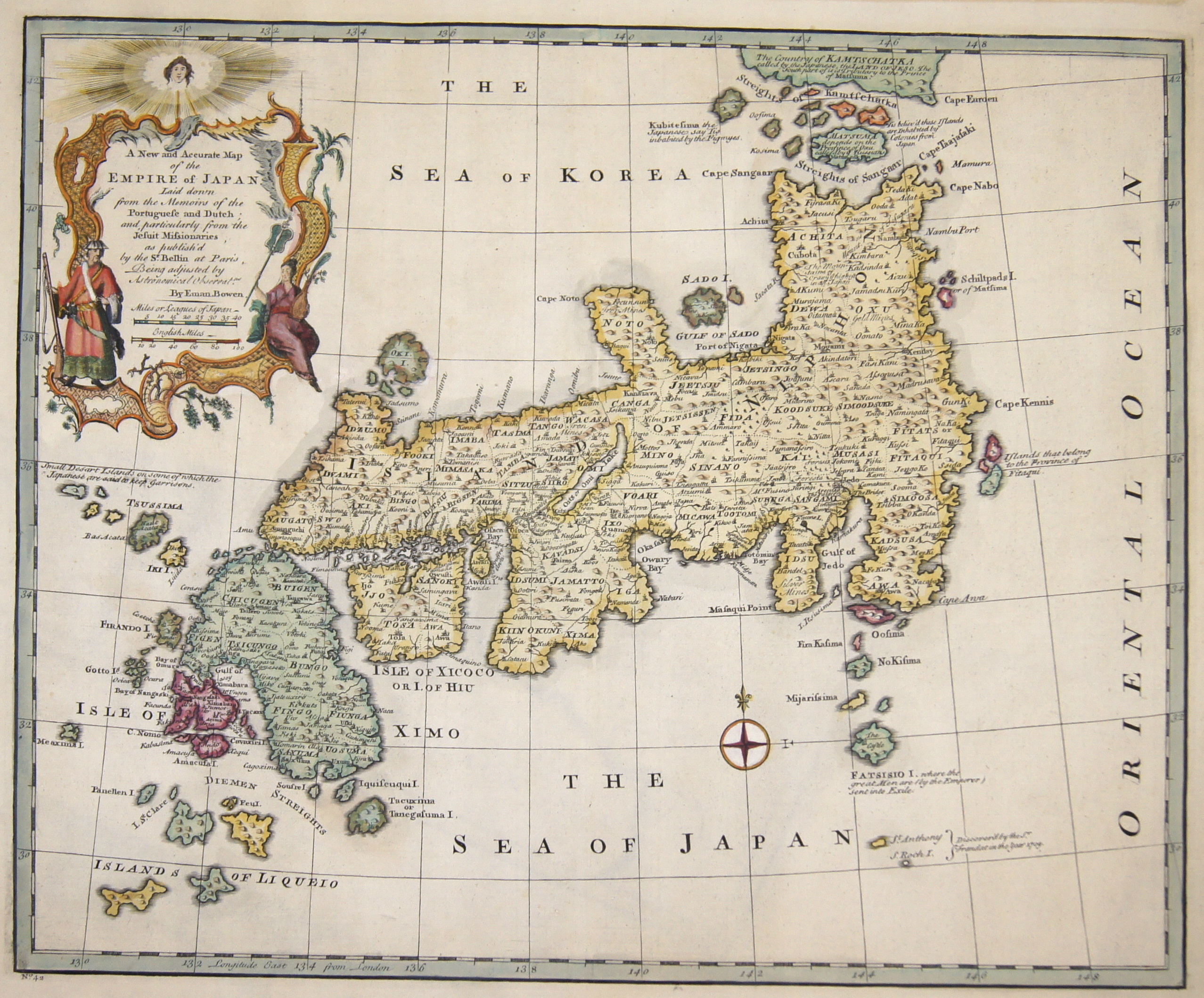 Bowen Emanuel A New and Accurate Map of the Empire of Japan…