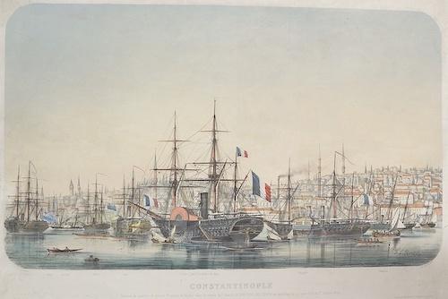 Lemercier / Levasseur  Constantinople, division de vapeurs de Guerre Francais et Anglais sous les ordres du C Amiral Le Barbir de Tinan, au Mouillage de la Corne d´Or, le ..