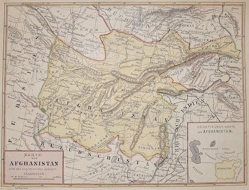 Braun/Lithografie Anstalt Stuttgart Paul Karte von Afghanistan und den angrenzenden Gebieten.