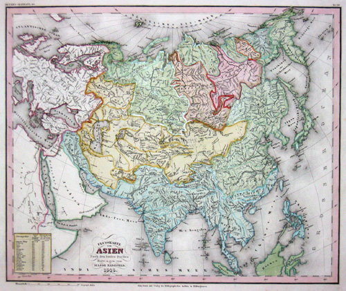 Kunstanstalt Hildburghausen  Flusskarte von Asien nach den besten Quellen entw. u. gez. vom Major Radefeld 1848