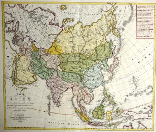 Homann / Güssefeld Erben Charte von Asien Nach den bewährtesten astronomischen Beobachtungen, den neuesten Reisen, und den vorzüglichsten Charten, insonderheit aber der…