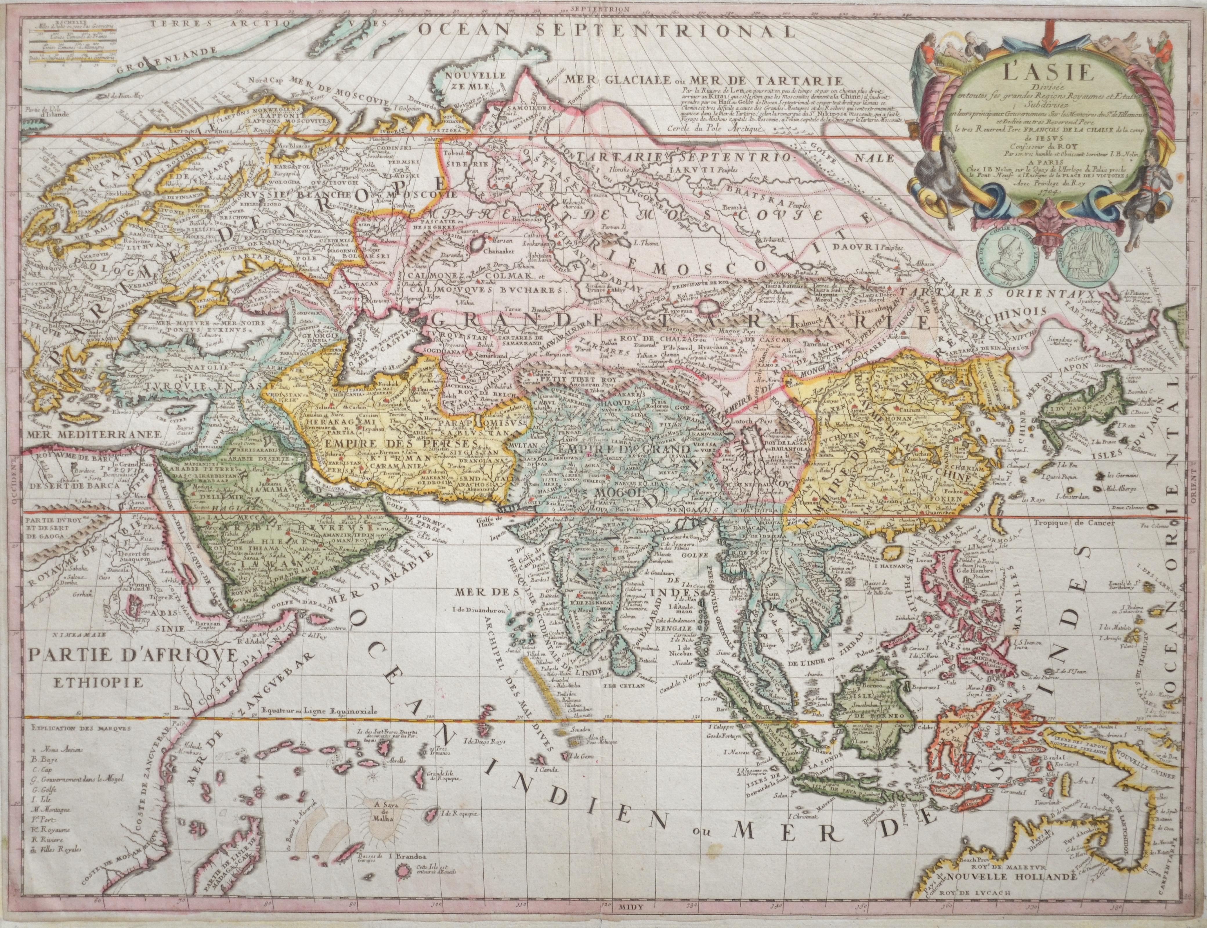 Nolin Jean Baptiste L'Asie Divisée entoutes ses grandes Regions Royaumes et Etats.