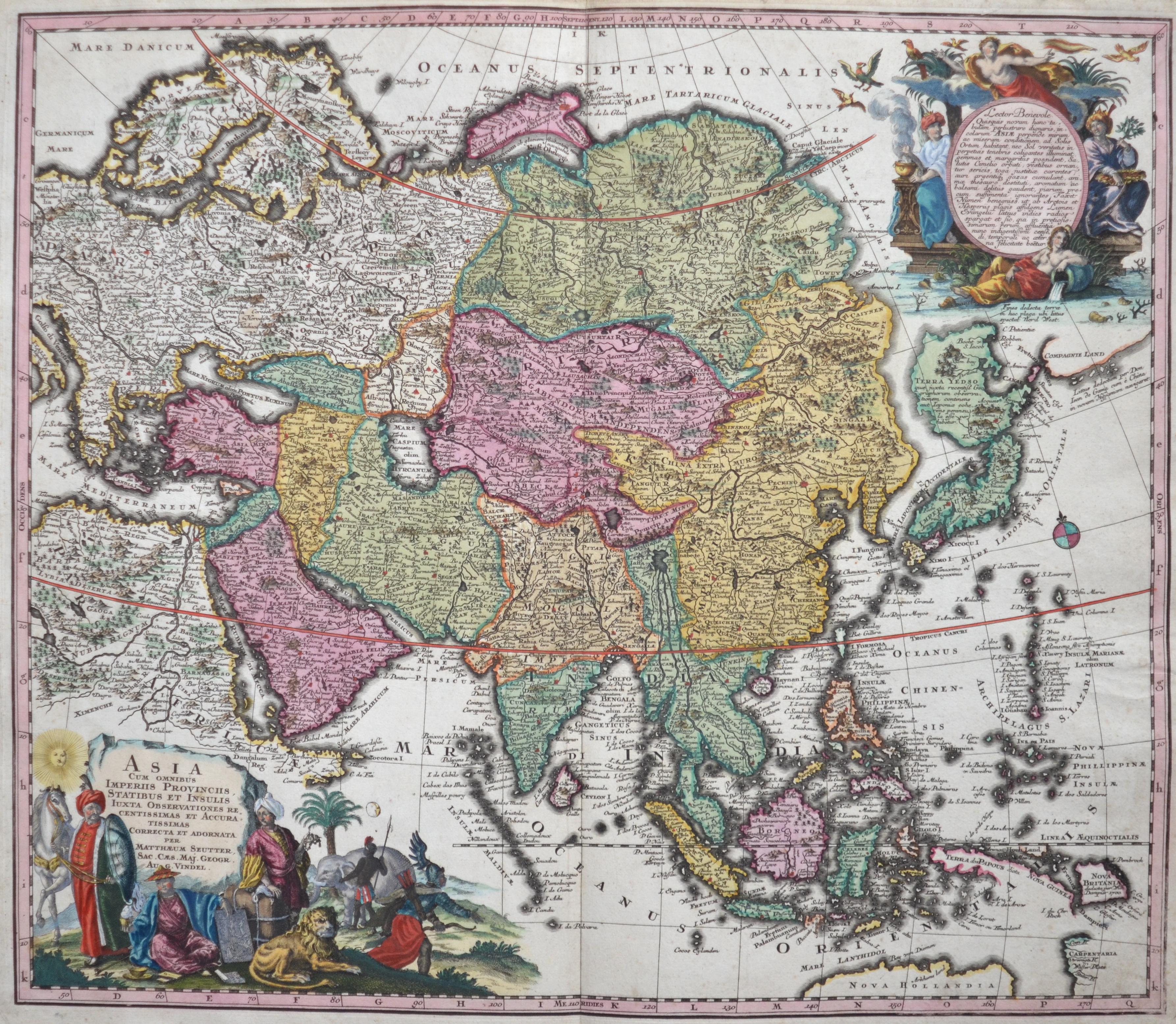 Seutter Matthias Asia cum omnibus Imperiis Provinciis, statibus et Insulis Luxta…