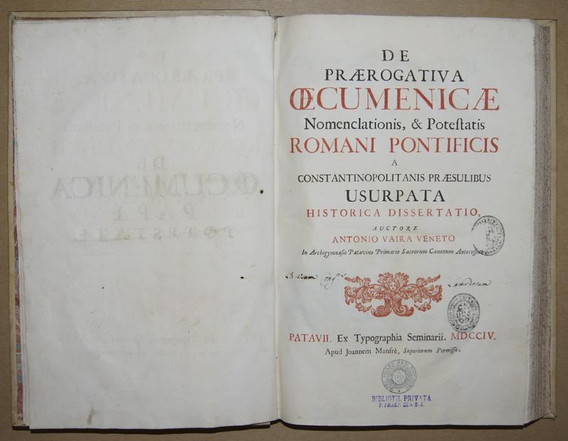 Vaira Veneto A. De Oecumenica Pape Potestate
