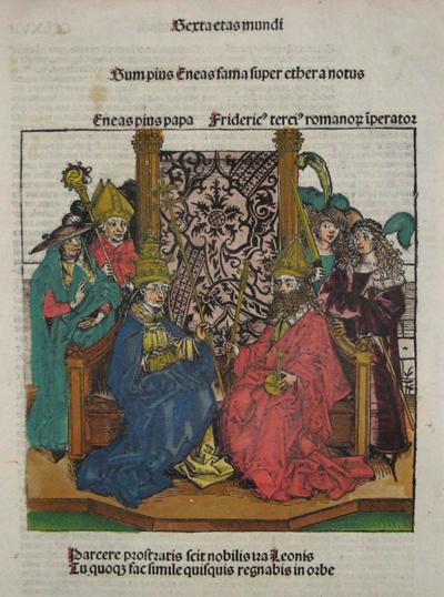 Schedel Hartman Sexta etas mundi sum pius eneas fama super etheranotus/ Enea pius pap Friderick terci romano liberatos