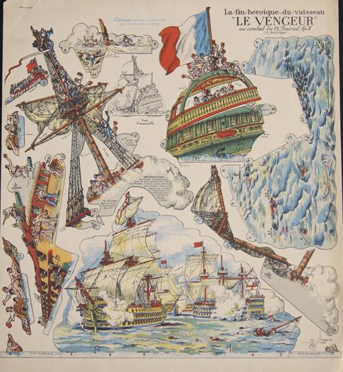 """Anonymus  La fin héroique du vaisseau """"Le Vengeur"""" au combat du 13 Prairial An II (2 Juin 1794)"""