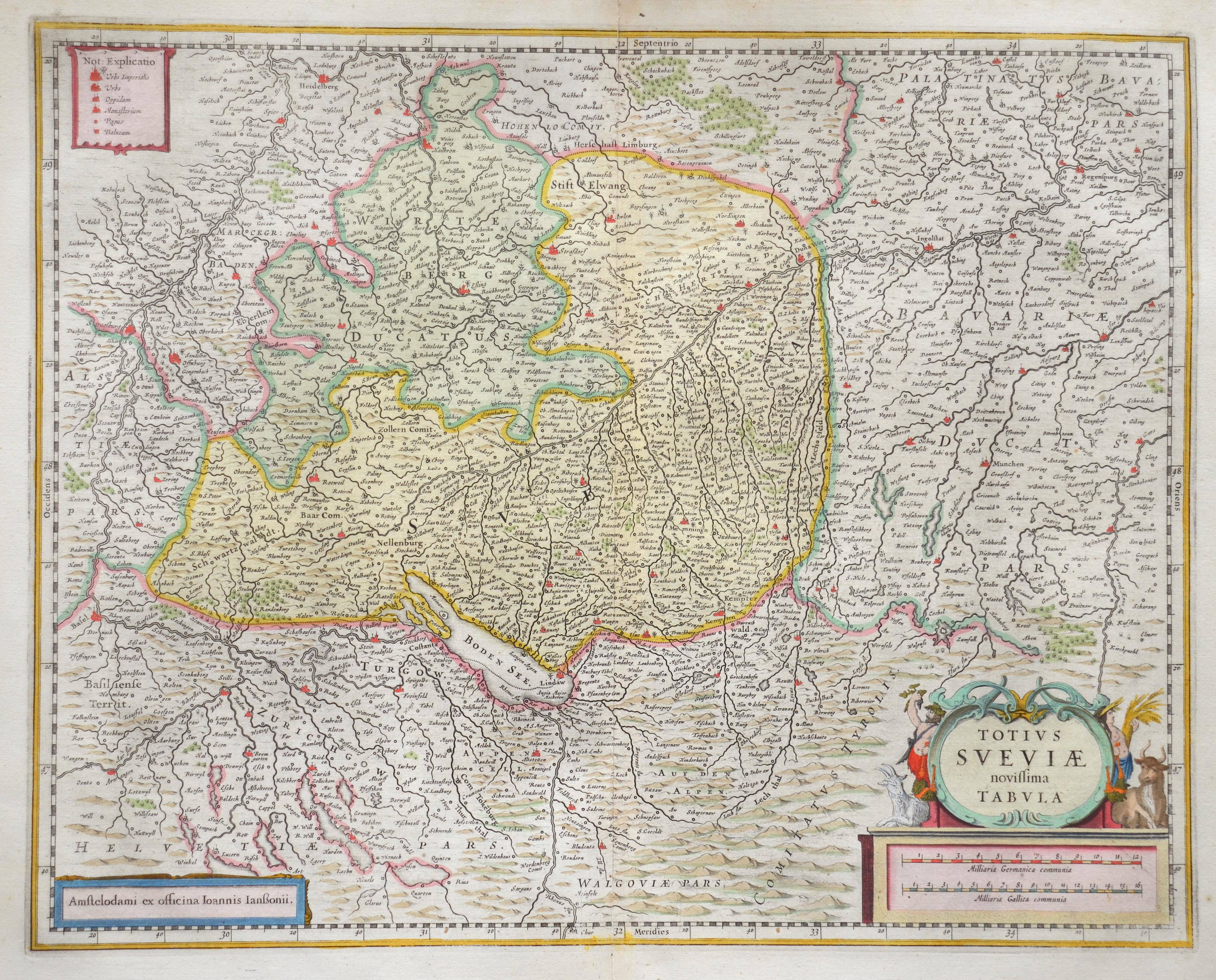 Janssonius Johann Totius Sveviae novissima tabula.