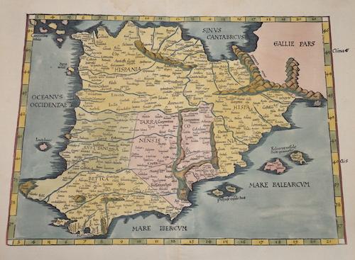 Ptolemy/Waldseemüller- Johann Schott  Europae tabula secunda continet Hispaniam…
