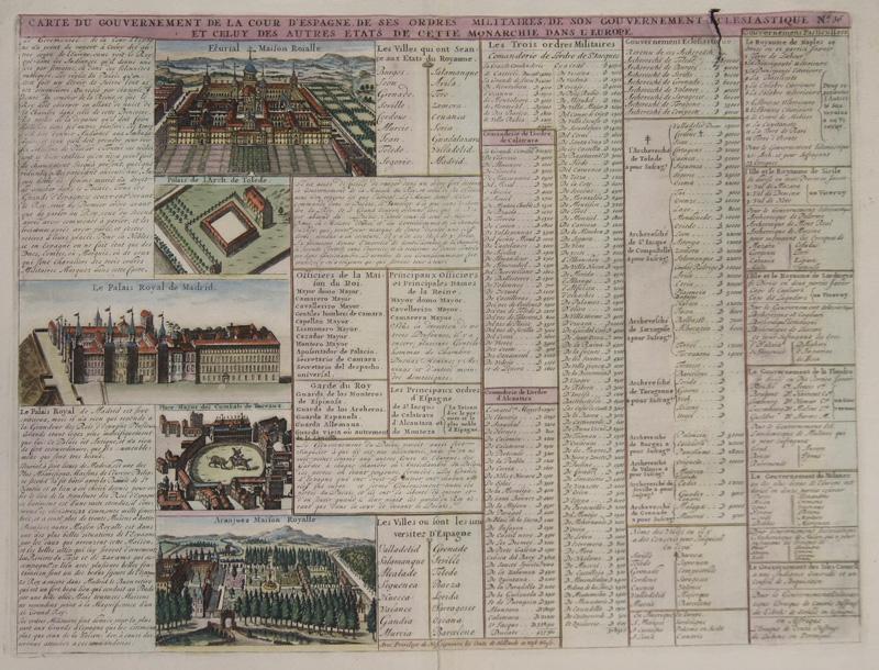 Chatelain  Carte du Gouvernement de la cour d'Espagne, de ses ordres Militaires, de son Gouvernement..