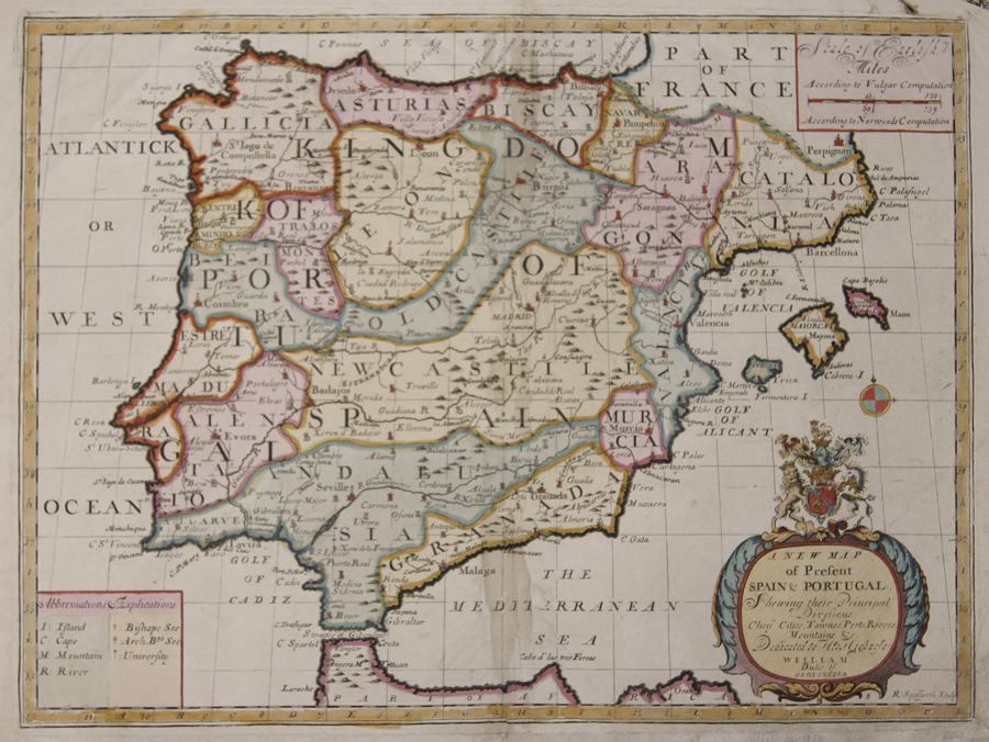 Wells  A New Map of Present Spain & Portugal.