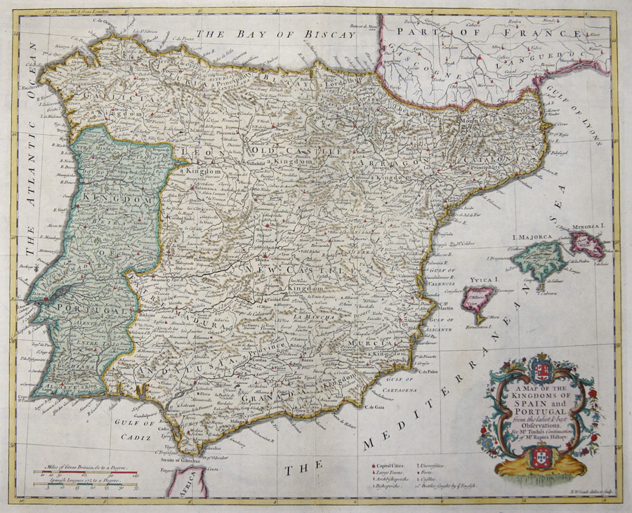 Rapin de Thoyras  A Map of the Kingdoms of Spain and Portugal…
