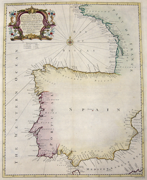 Rapin de Thoyras  A correct Chart of the Bay of Biscay, Part of the Western Ocean & Mediterranean Sea Describing the Coasts of Spain and Portugal with Part of France.
