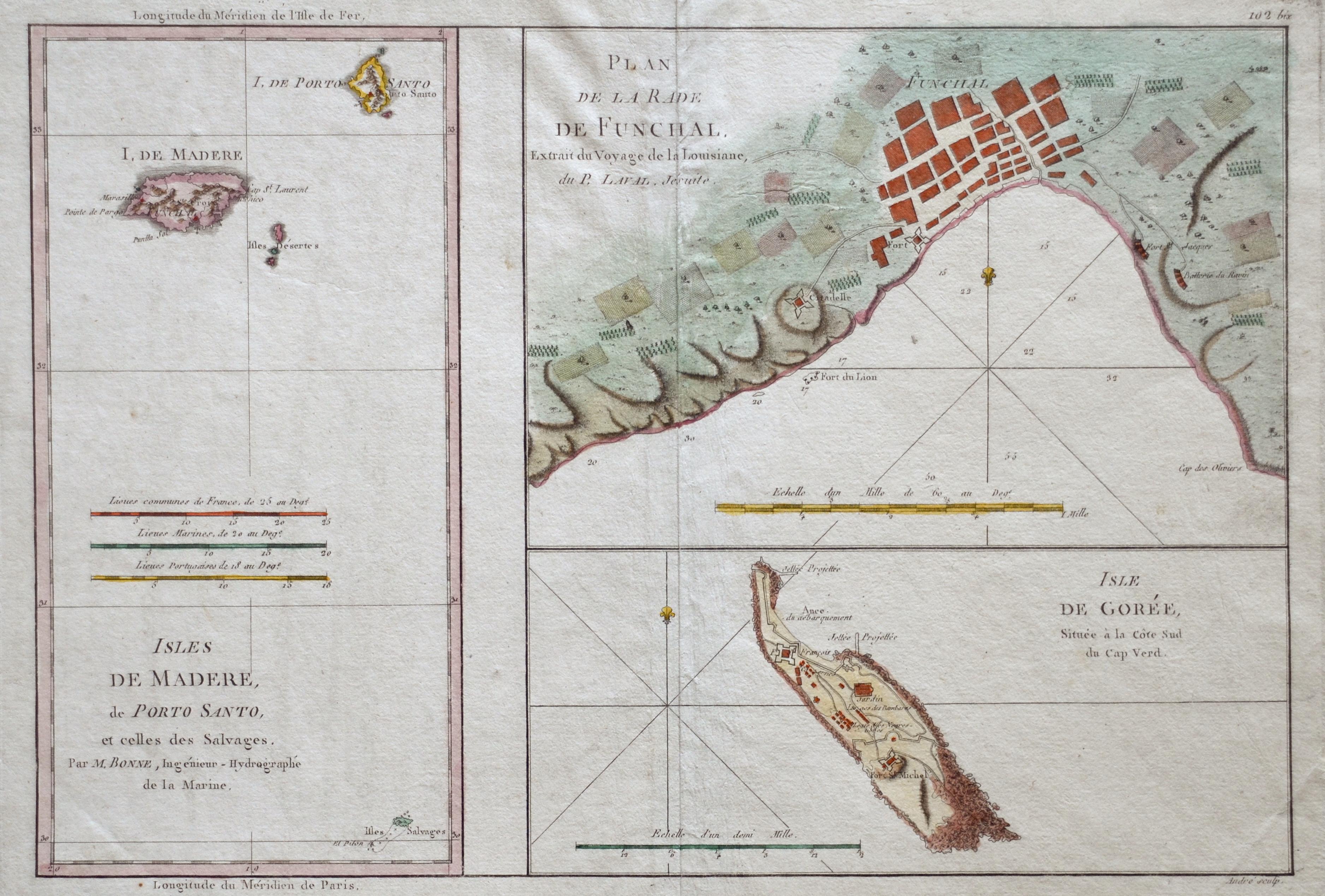 Bonne Rigobert Plan de la Rade de Funchal. / Isles de Madere, de Porto Santo,.. / Isle de Gorée