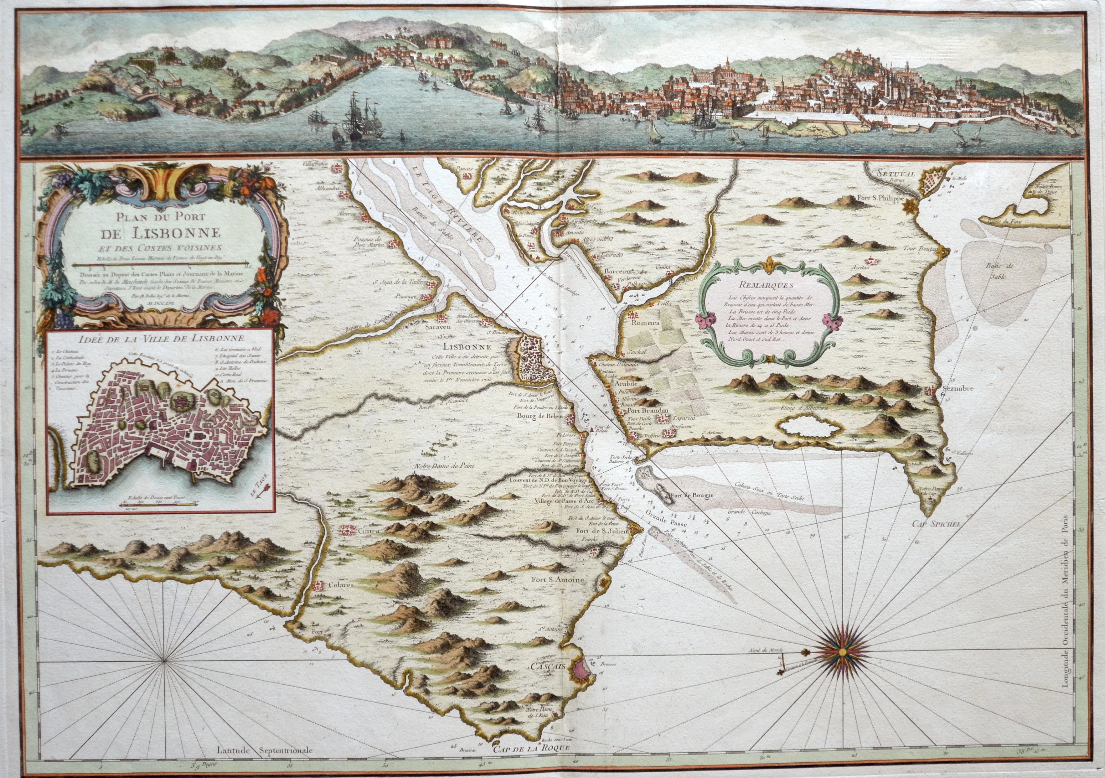 Bellin Jacques Nicolas Plan du Port de Lisbonne et des Costes Voisines