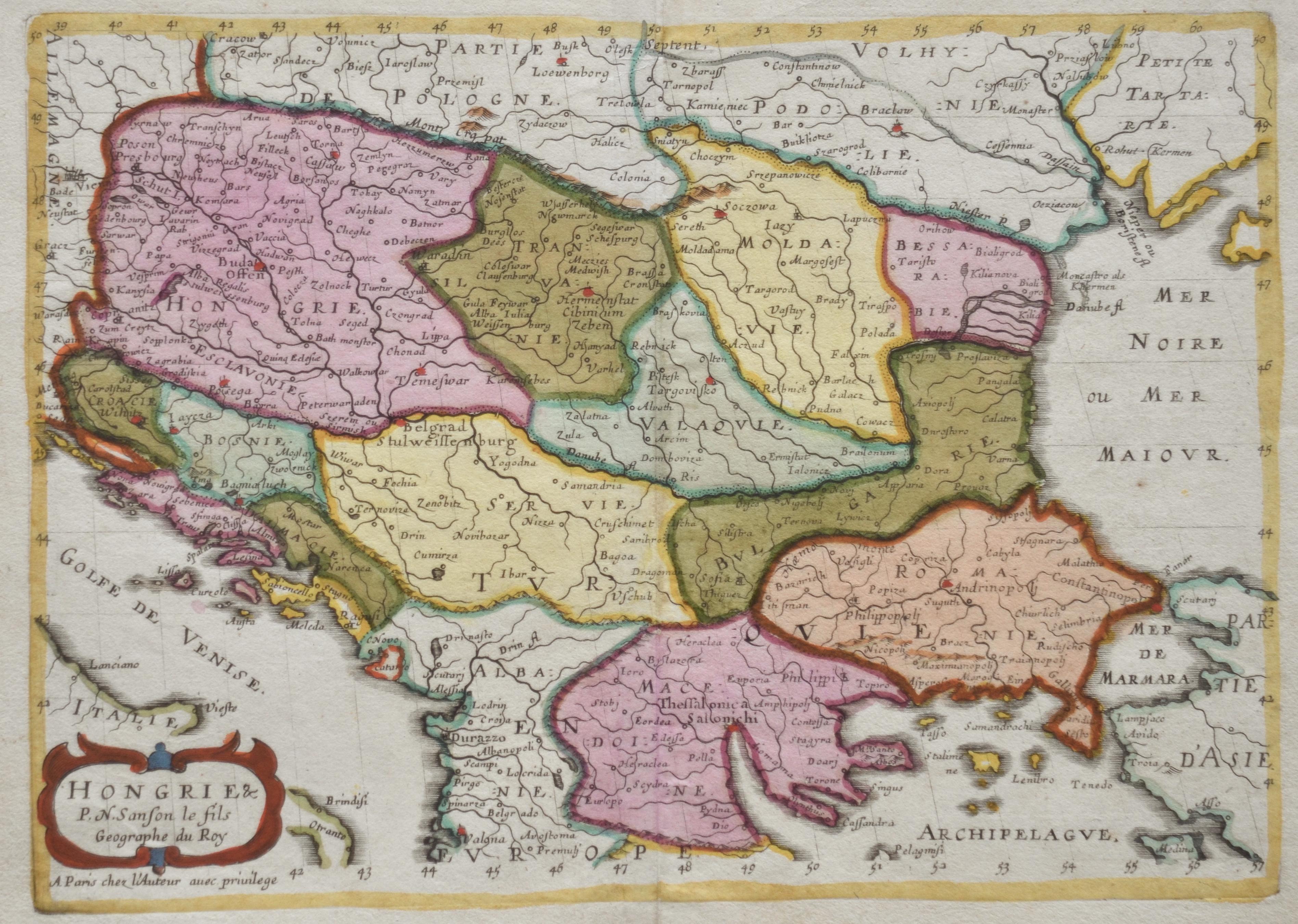 Sanson Nicolas Hongrie & P.N. Sanson le fils Geographe du Roy