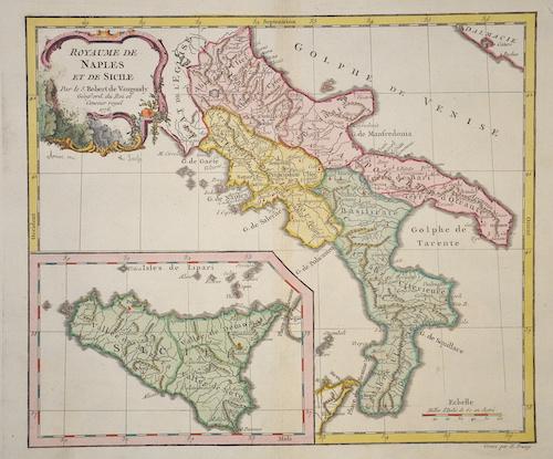 Antique Map - Vaugondy,de - Royaume de Naples et de Sicile ... on