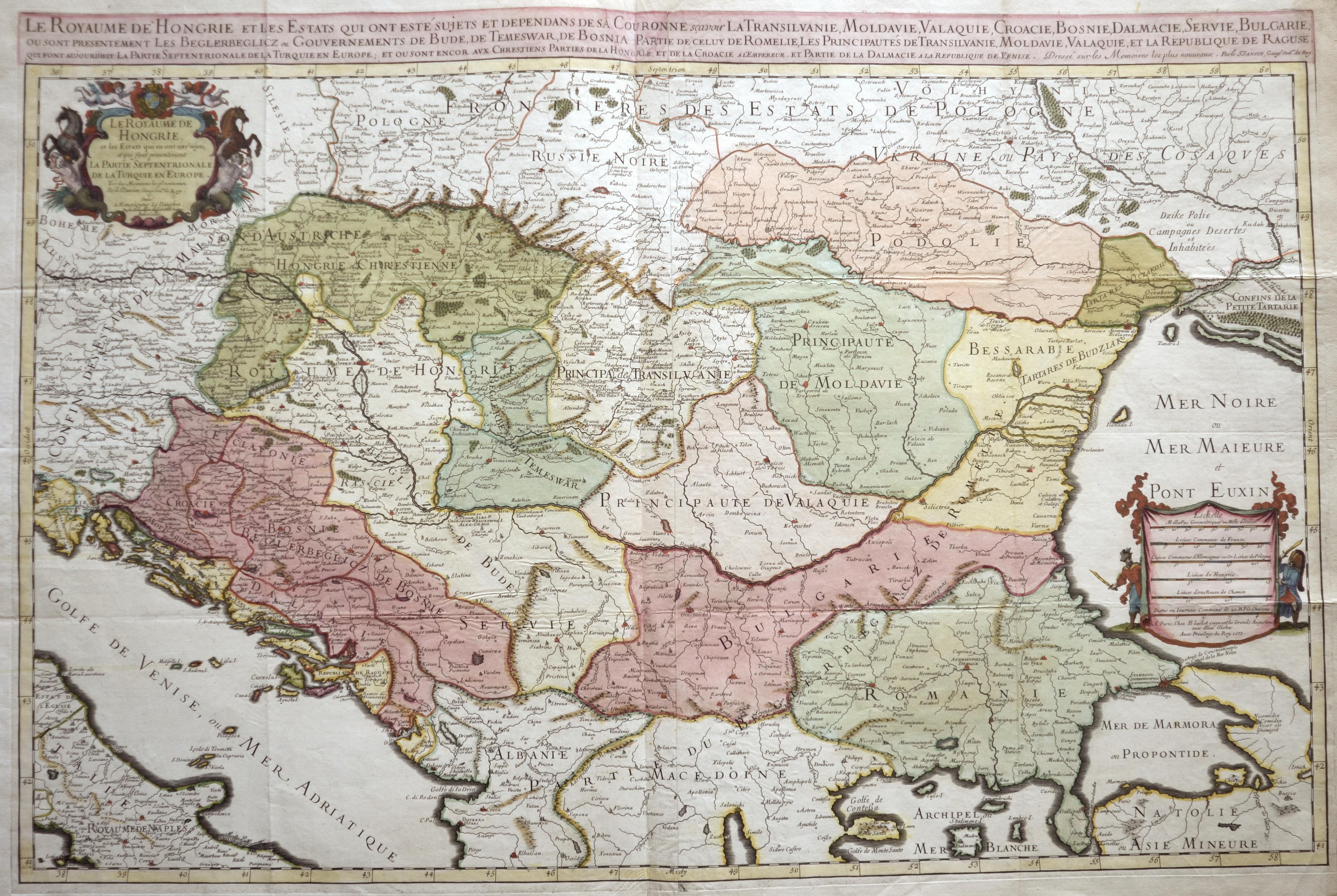 Jaillot/ Sanson Hubert/ Nicolas Le Royaume de Hongrie et les estats qui ont esté sujets et dependand de sa Couronne scavoir la Transilvanie, Moldavie, Valaquie, Croacie, Bosnie,..