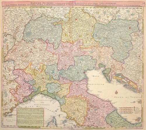Homann  Danubii fluminis pars superior, in qua Suevia, Bavaria, Austria, Stiria, Carithia, Carniola, Tyrolis et Helvetia cum magna parte Italiae
