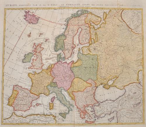 Elwe Jan Barend Europe, composée par G. d´ Isle et corrigée selon le plus nouvelle observations
