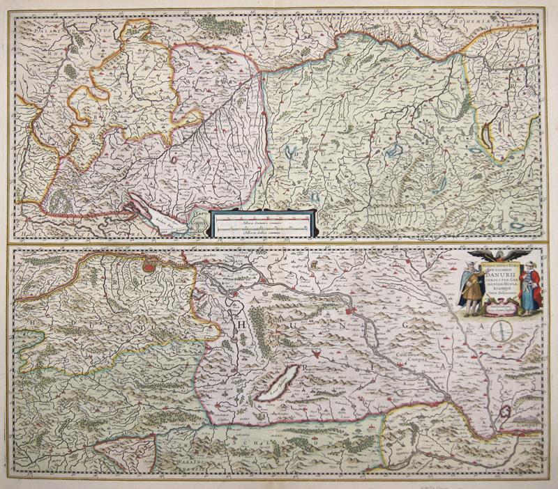 Janssonius/Hondius, H. Johann Maximit Totius Europae Fluminis Danubii cursus per Germaniam Hungariamque Nova Delineatio.