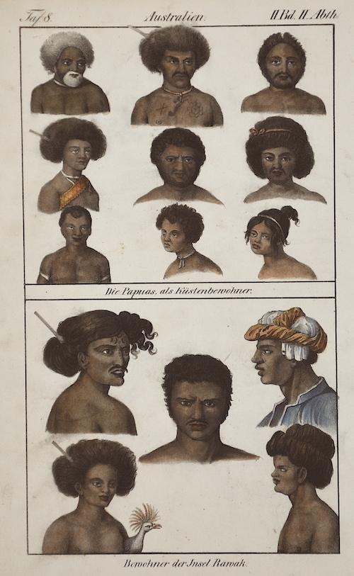 Anonymus  Australien. Die Papuas, als Küstenbewohner./ Bewohner der Insel Rawak