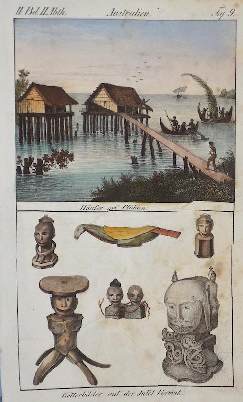 Anonymus  Australien. Häuser auf Pfählen. /Götterbilder auf der Insel Ramak