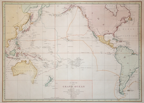 Pérouse, la Jean Francois Carte du Grand Océan ou Mer du Sud