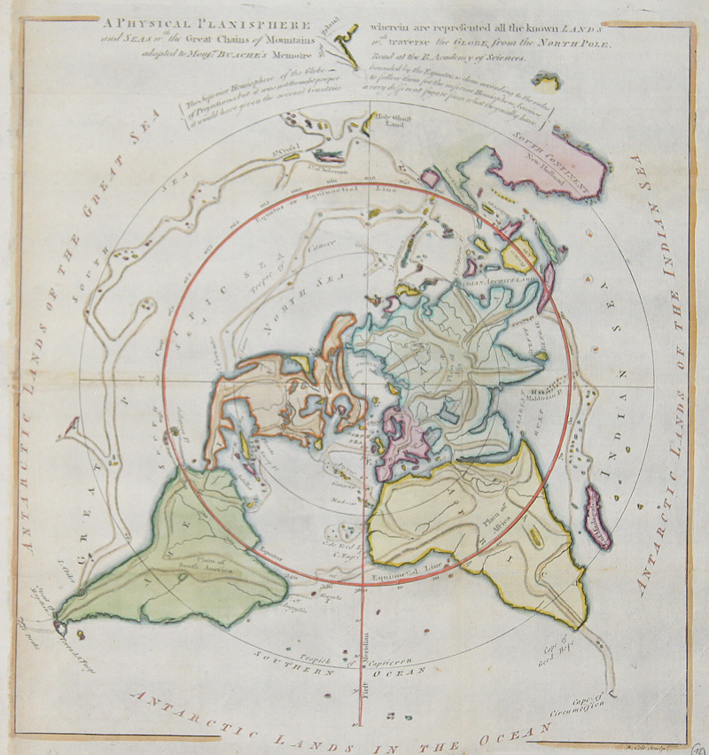 Cole Benjamin A Physical Planisphere wherin are represented all the known LANDS an SEAS, the chains of Mountains traverse, the Globe from North Pole.