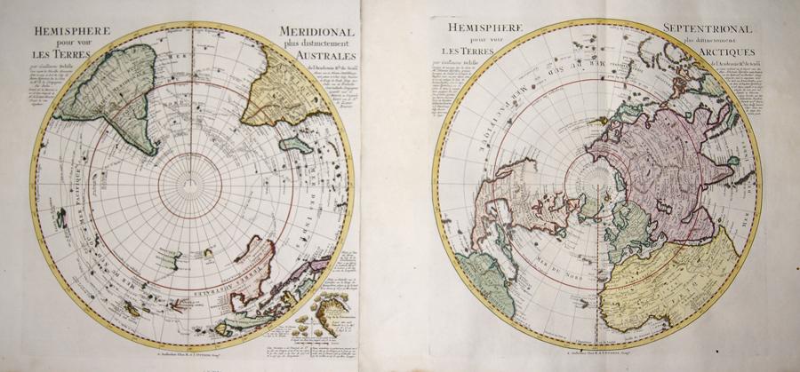 Ottens/ De L´Isle Josua und Renier Hemisphere Septentrional pour voir plus distinctoment les Terres Arctiques / Hemisphere Meridional pour voir plus distinctement les Terres Australes