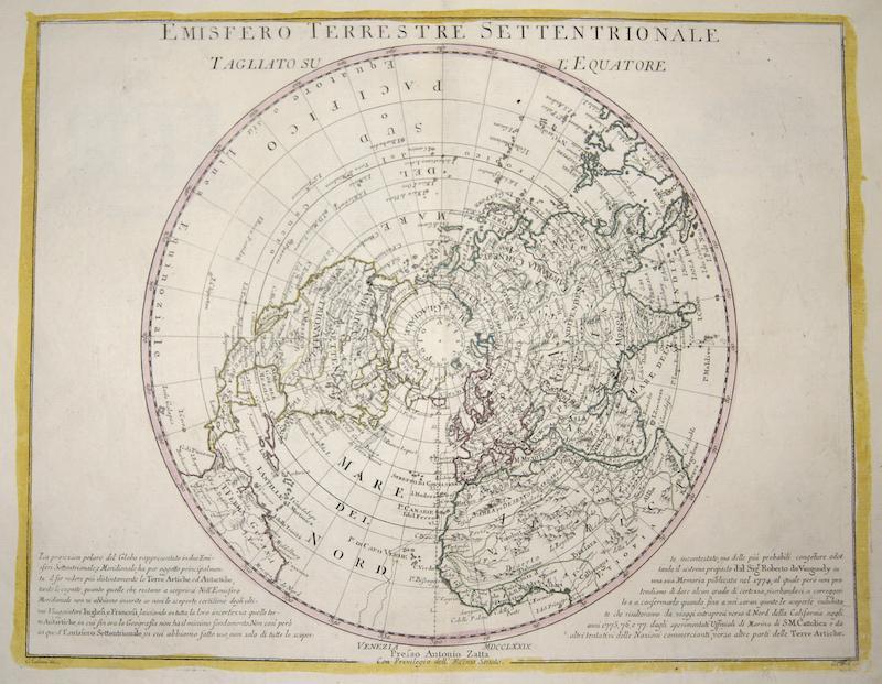Zatta Antonio Emisfero Terrestre Settentrionale Tagliato sul' Equatore