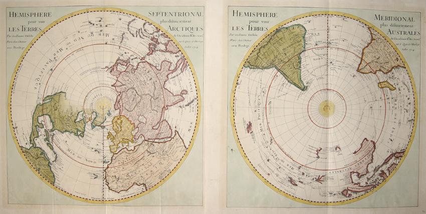 "L´Isle, de /Covens & Mortier Guillaume Hemisphere Septenrional"" & ""Hemisphere Meridional"