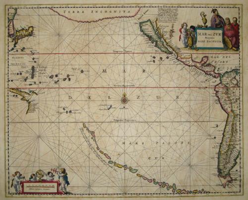 Janssonius Johann Mar del Zur Hispanis – Mare Pazificum