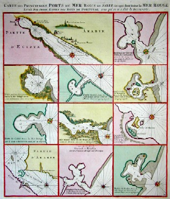 Keulen Johannes van Carte des principales Ports de mer Bangs de Sable & qui sont Dans la Mer Rouge…