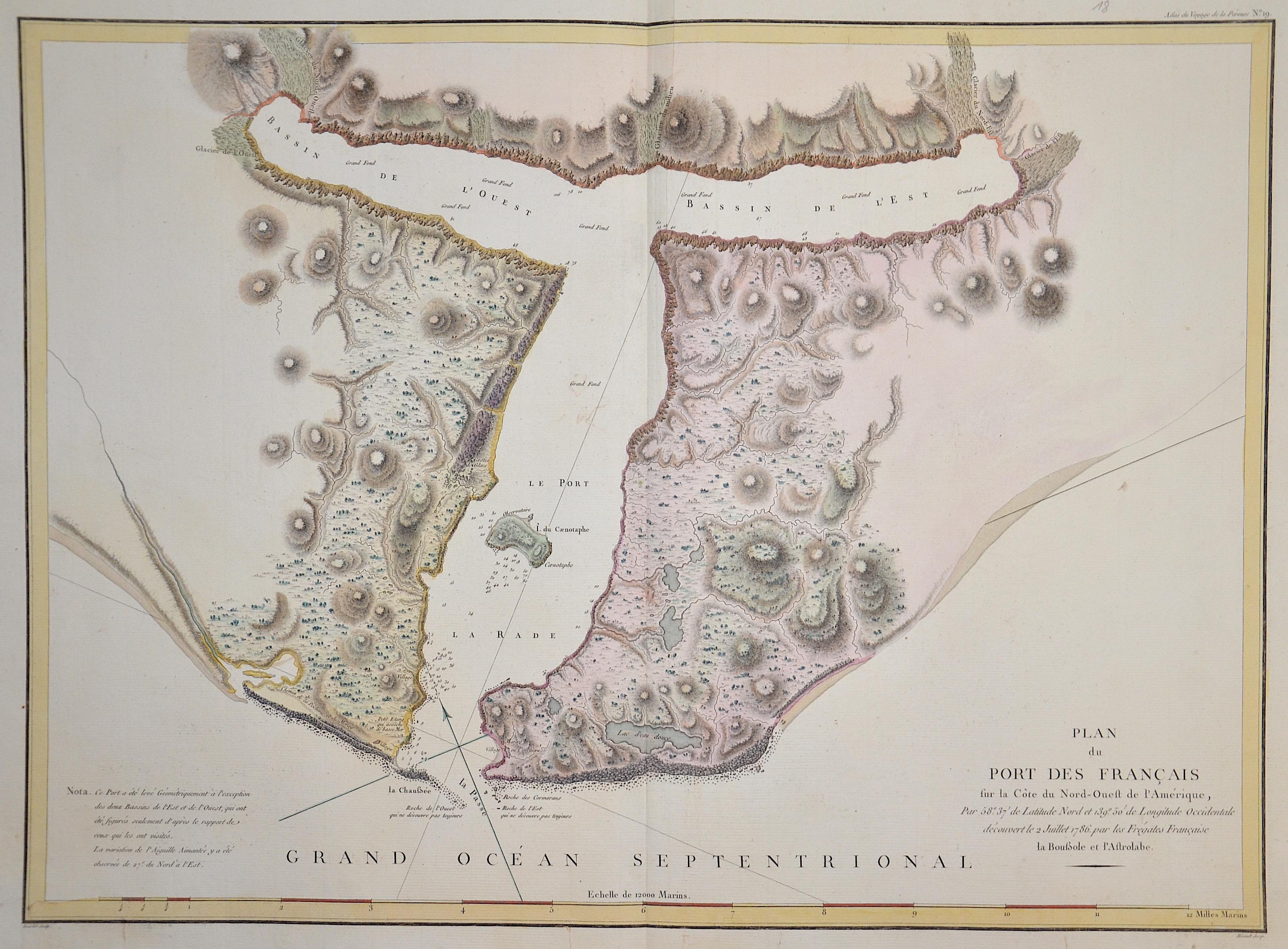 Pérouse, la Jean Francois Plan du port de Francais sur la cote du Nord – Ouest de l´ Amerique….