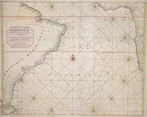 Mortier Peter Carte de la mer Meridional Contenant un partie des Costes de l´Afrique et de L´Amerique meridionale..