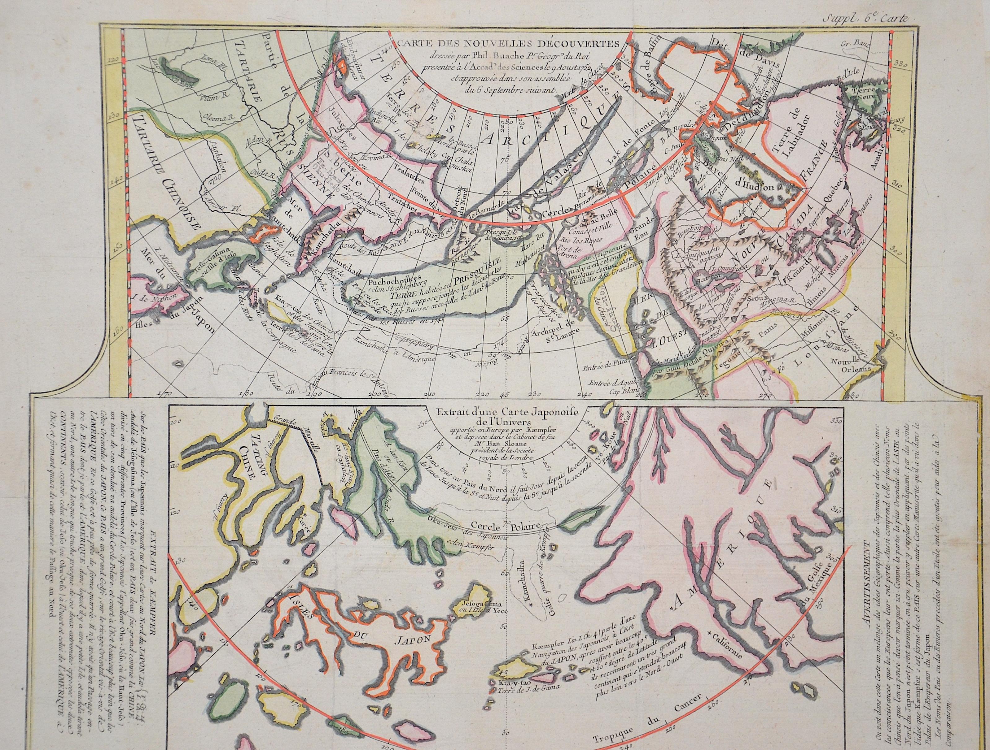 Vaugondy,de  Carte des nouvelles decouverts …/Extrait d´une carte Japonoise de l´universe…