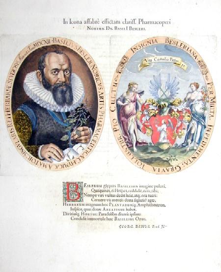 Besler Basilius In Icona affabre effictam clariff pharmarmacopoei……..Basili Besleri