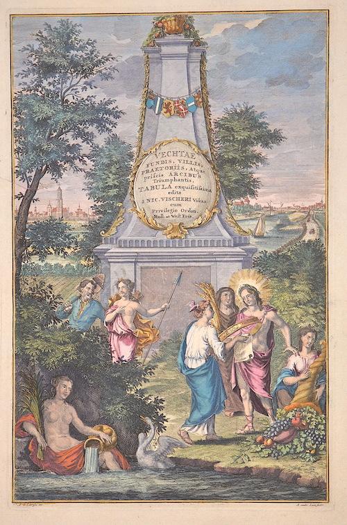 Visscher Nicolas Vechtae fundis, villis, praetoriis, atque priscis arcibus triumphantis, Tabula exqisitissima edita a Nic. Vischeri….