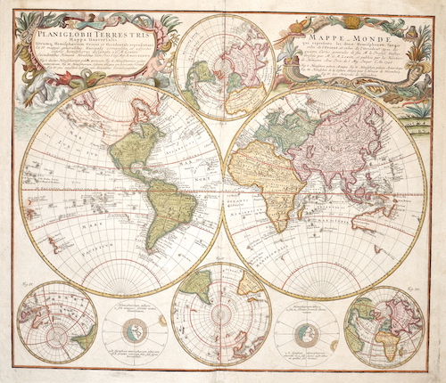 Homann Erben  Planiglobii Terrestris  Mappa niversalis/ Mappe Monde